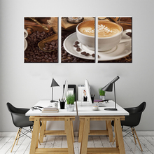 Drop shipping 3 pieces canvas oil painting delicious coffee wall art craft decor pictures pub bar cafe coffee room(China)