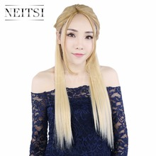 "Neitsi 22"" 7pcs/set 140g 16clips Straight Synthetic Clip In Hair Extensions Heat Resistant Hair 613# Blonde Braiding Hairpieces"