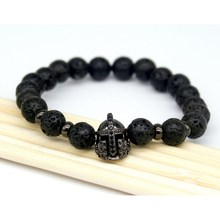 2017 Fashion Lava Charm Men's Bracelets Famous High Quality Knight Helmet Braiding Brand Bandage Macrame Strand Beads Bracelet.(China)