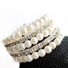 Korean Style Temperament OL Silver Plated Full Rhinestone Simulated Pearl Bracelets Multilayer Winding Wide Bangles