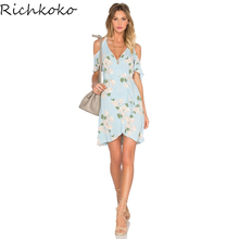 Buy Richkoko 2017 Floral Printed Summer Dress Women Clothing Casual Cold Shoulder V-Neck Mini Dresses Beach Party Vestidos Female for $13.45 in AliExpress store