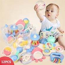 12 Pieces Newborn Baby's Rattles Set Cute Different Shape Bell Ring Combination with Storage Box and Gift Bag Infant Rattles Set(China)