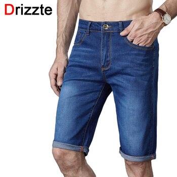 Drizzte marca mens shorts jeans stretch plus size fina denim jeans curto para Calças dos homens Verão Tamanho 33 35 36 38 40 42 44 46 Jean