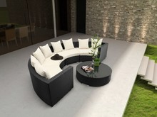 2017 Sofa Furniture Outdoor Rattan Furniture 5 pc Round Sectional Sofa Set(China)