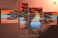 Abstract Red Blue Africa Tree Hill Lake Oil Painting Handpainted 4 Panel Art Set Home Decor Modern Wall Picture For Living Room