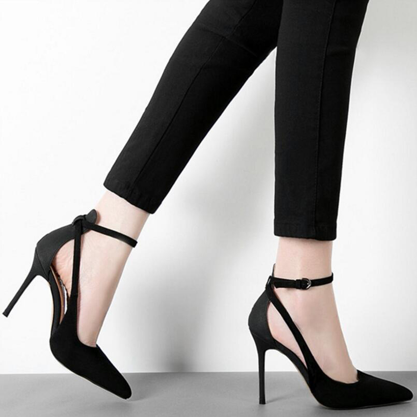Hot Sale 2017 Sexy Pointed Toe Pumps Two-Piece Buckle Strap Women Shoes Fashion Hollow Zapatos Mujer 8cm High Heels Shoes Woman<br><br>Aliexpress