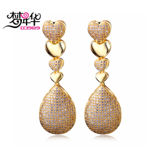 DreamCarnival 1989 Hearts Shape Earrings for Women Teardrop Zirconia Rhodium Gold Color boucle d'oreille Wedding Bijoux Costumes(China)