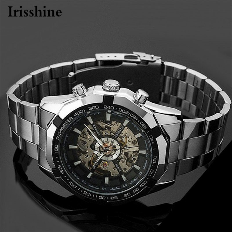 Irisshine Y5866 brand luxury Men watches montre homme Mens Skeleton Dial Stainless Steel Self-Wind Up Mechanical Automatic Watc<br><br>Aliexpress