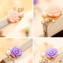 Dust Plug Pearl Rose Dustproof Earphone Jack Plugs Phone Floral Anti Plug for Cell Phone iPhone 6 6s galaxy s7 note 5 Universal(China)