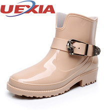 Girls Fashion Ankle Rain Boots Rubber Waterproof Rain Shoes Woman Comfortable Low Heels Women Slip On Pumps Shoes Martin Boots