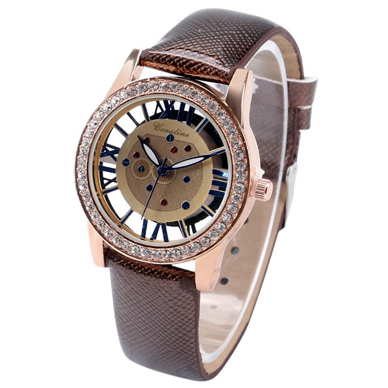 2016 New Arrival Dress Skeleton Wrist Watch Women Quartz Beautiful Girl Clock Brown Roman Numerals Gift for Christmas W225203<br><br>Aliexpress