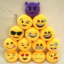 300pcs Cute Creative Emoji Soft Plush Toy Round Emotion Smiley Doll Gift Party Decor Key Chain Bag Phone Straps ZA0867(China)