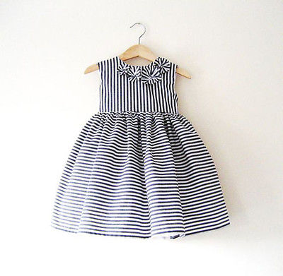 2016 Fashion Girl Summer Princess Flower Bow Dress Kid Baby Striped Sleeveless Dresses Party Wedding Pageant Dresses Clothes<br><br>Aliexpress