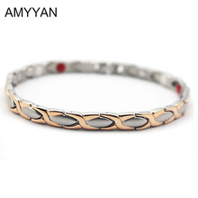 Elegant V Care Blood Pressure Magnetic Bracelet For Women's Fashion Negative Ion Germanium Energy Bracelet 6mm Width