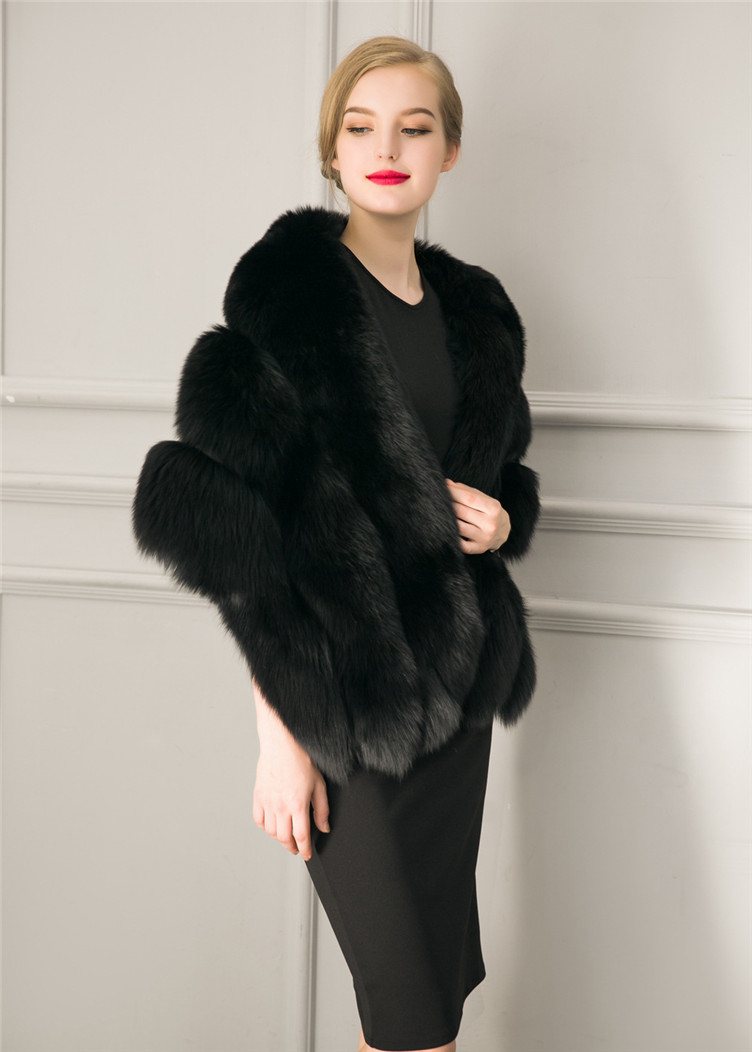 2018 Hcyo Korean version of the imitation of rabbit fur shawl imitation water mane fur grass cloak vest women's coat (3)