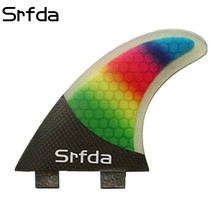 srfda FCS -G5 surfboard fins with fiberglass honey comb material rainbow color SURF fins (three-set)(China)