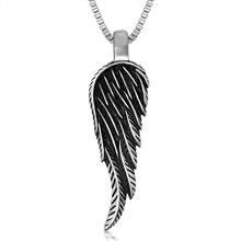 Trendsetter Personality Feather Swing Pendant jewelry Accessories Titanium Steel Men Necklaces 1 Piece Chain Size 22-30 Inch