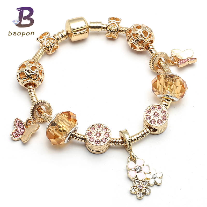 BAOPON Blooming Daisy Pendant Charm Bracelet Women Golden Crystal Murano Glass Beads Snake Chain Pandora Bracelet Jewelry