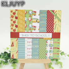 "KLJUYP 28sheets/pack 6"" Single Printed Back To School pattern creative papercraft art paper handmade scrapbooking kit set books(China)"