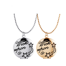 SUTEUI Wish on a star engraved can put frame Photo Memory medallion can open frames necklaces Valentines gift for women necklace