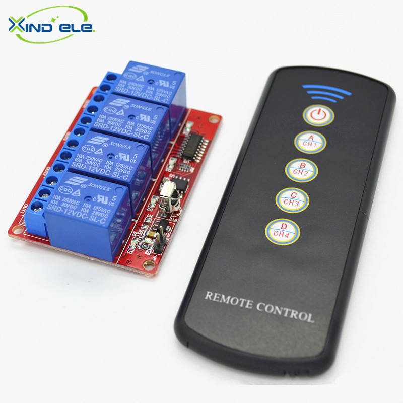 XIND ELE 4 way 12V DC IR Remote Control Self-lock Switch Module + Remote For Home Auto Light Garage Door #IR12-4SM+LPM5#<br><br>Aliexpress