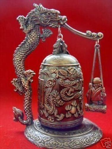 Well-Educated Copper Brass Chinese Crafts Asian Exquisite Chinese Tibetan Copper Buddhism Exorcism Bell Home Office Storage