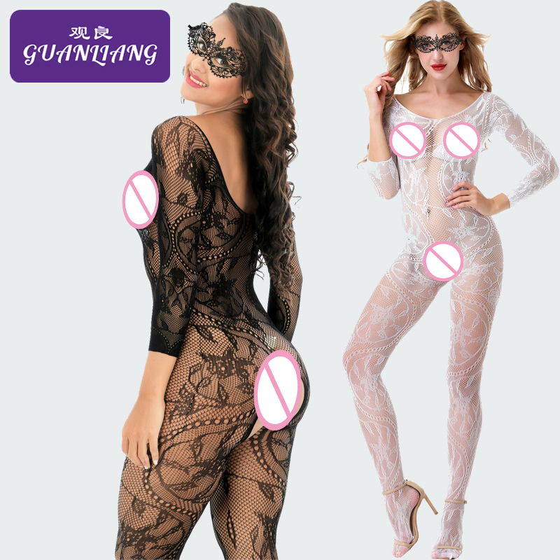 Long Sleeve Open Crotch Sexy Bodystocking Transparent Dargon Pattern Porn Bodystocking For Women Eyemask Sexy Lingerie Erotik(China)