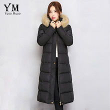 YuooMuoo Women Fur Collar Hooded Long Winter Jacket and Coat Windproof Warm Cotton Padded Down Jacket Black Parka