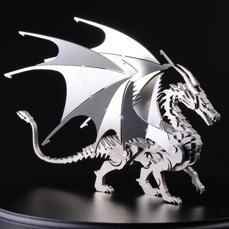 3D stainless steel metal crafts creative interior decoration decoration model dragon puzzle adult collectibles holiday gift<br><br>Aliexpress