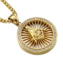 Hip Hop Bling Gold Masonic Freemasonry Pendant Necklaces Titanium Stainless Steel Crystal Round Necklace For Men Hiphop Jewelry(China)