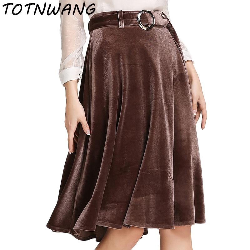 dc4ef35a82 Terciopelo elegante una línea de faldas para mujer de moda femenina otoño  2017 de cintura alta