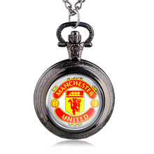 New Fashion Manchester Logo Design Quartz Pocket Watch Necklace Chain Pendant Gift For Football Fan