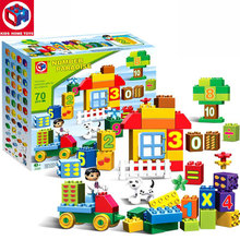 Kid's Home Toys 70PCS/SET The Number Fruit Train Number Paradise Model Large Particles Block Brick Kid Toy Compatible With Duplo