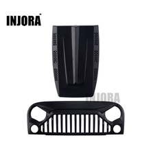 INJORA Black Air Inlet Grille Front Face & Engine Hood for 1/10 RC Rock Crawler Axial SCX10 RC4WD D90 Jeep Wrangler Rubicon(China)