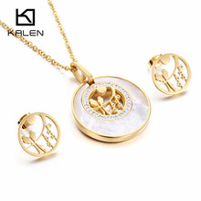 Kalen New Women Jewelry Set Shell & Stainless Steel Italy Gold Color Hollow Birds on Tree Pendant Necklace & Earrings Set Gift(China)