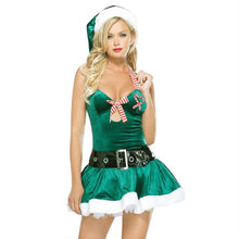 Sexy Ladies Christmas Fancy Dress Miss Santa Claus Costume Green Mini Dress Adult Xmas outfits