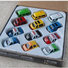 12 piece/set mini assembled pull back toy car model for children colors for bus car jeep toy minibus kids play game gift(China)