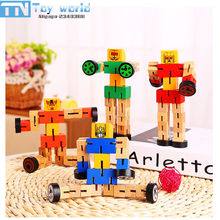 4colors Toboly Transformation Robocar toy 15cm wooden Robot car creative vehicle toys for children best gifts with retail box