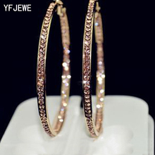 2018 Top Popular Earrings With Rhinestone Circle Earrings Simple Earrings Big Circle Gold Color Hoop Earrings For Women E005(China)