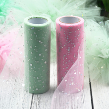 25 Yards Glitter Sequin Tulle Roll Lace Table Runner Vintage Spool Tutu Wedding Party Festival Decoration DIY Flower Ball(China)