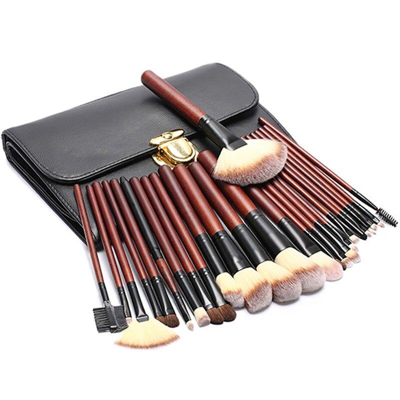 Pro 26Pcs Make Up Brush Set Pouch Horse Hair Lip Foundation Eyelashes Brush Women Cosmetic Makeup Bag Kits Eyeshadow Brushes <br>