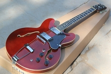 Factory custom RED semi-hollow double f  holes JAZZ electric guitar with chrome hardware,black pickguard,can be customized