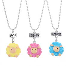 New Airrive Set of 3pcs Best Friends BFF pendant Bead Chain Necklace Multicolor Cartoon Sheep kids jewelry lead nickel free()
