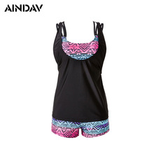 New 2017  Maillot Print Tankini Swimsuits Women Plus Size Two Pieces Swimwear Ladies Bathing Suit with Shorts Push Up Bikinis
