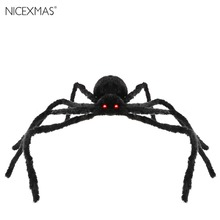 Poseable Furry Spider LED Sound Control Simulate Black Giant Hairy Spider Halloween Party Prop Decoration Halloween Spider Decor