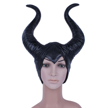 Angelina Maleficent Mask Movie Maleficent Latex Horns Headpiece Halloween Female Masquerade Party Cosplay Rubber Head Masks