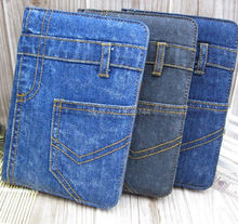 5pcs/lot Denim Case For ipad 6 Business Jean Design Leather Phone Case for Apple ipad air 2 Soft TPU Cover Back Card Slots(China)