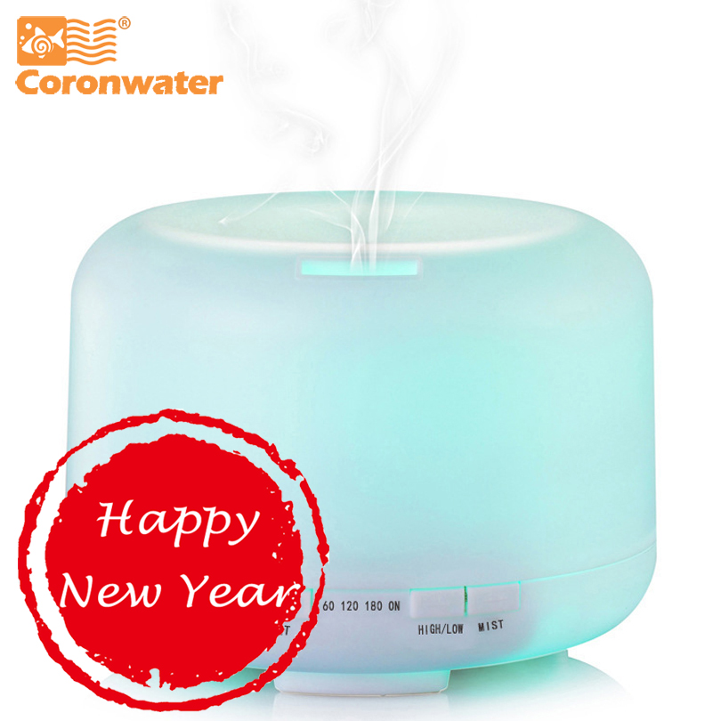 Coronwater 500ml Aroma Essential Oil Diffuser Ultrasonic Air Humidifier 7 Color Changing LED Lights for Office Home(China)