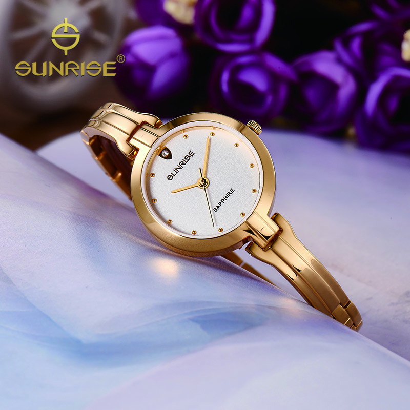 SUNRISE Women Quartz Bracelet Watches Ladies Gold Diamond Wrist Watches oyster Dress Elegant Watch Clock relogio feminino SL713<br><br>Aliexpress