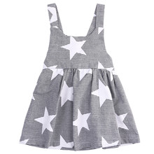 Baby kids Girls Dresses Fashion Infant Bow Cute Casual 2018 Summer Beach Clothing Star Stripe Party Girls Dress for Sale Cheap(China)